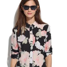 Madewell Silk Rose Boyshirt Opposites attract: A luxe floral print meets a laid-back, boy-meets-girl attitude. (Note: The sleeves are made to easily roll up.) •Boyfriend fit. •Silk. •Dry clean. Brand new, never worn Madewell Tops Blouses