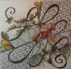 """Fairy zentangle """"Imp"""". Zentangle fairy done with Tombow and Sakura markers. Incorporated Cicely Mary Barker fairy in the design."""