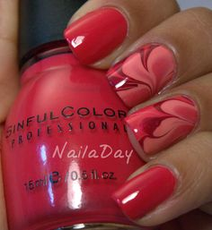 Red water marble nails #nailart                                                                                                                                                      More