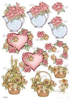 Die Cut Decoupage Sheet - Romance/Floral/Mothers Day - : Card Making + Scrapbooking Craft Supplies Sand Crafts, 3d Paper Crafts, Decoupage Vintage, Kanban Crafts, Image 3d, Decoupage Printables, 3d Sheets, 3d Cards, Pretty Designs