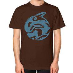 Tribal Killer Whale Tattoo in Blue Unisex T-Shirt (on man)