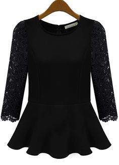 Blusa plisada combinada mangas largas encaje-Negro EUR€19.32