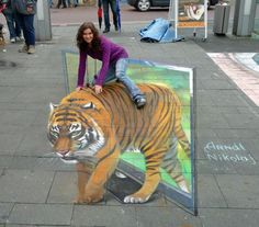 Rawr!3D  sidewalk chalk illusion! If viewed from a different angle, you would see that it's totally flat! This is by Julian Beever, famous for his art.