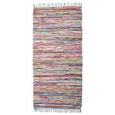 Trasmatta MULTI. 70x150 cm. Vävd matta av återvunnen textil.