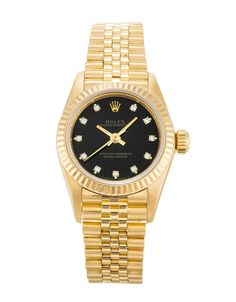4e812330ce4 This is a pre-owned Rolex Lady Oyster Perpetual It has a Yellow Gold case,  a Black Custom Diamond dial, a Yellow Gold (Jubilee) bracelet, and is  powered by ...