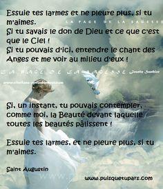 PENSEES AU ANGE | Puisque tu pars....: Prière de Saint-Augustin pour les…