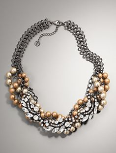 Bead & crystal cluster bib necklace $89.00