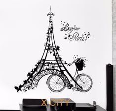 Bonjour-Paris-Scenery-Eiffel-Tower-font-b-Bicycle-b-font-Art-Wall-Decal-Sticker-Black-Vinyl.jpg (1000×961)