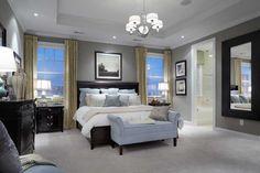 Grey, dark brown and blue room