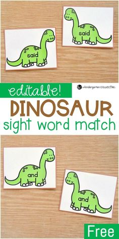 This editable sight word dinosaur game is a simple sight word matching game that works with ANY word list - so fun for Kindergarten or 1st grade word work! #sightwords #kindergarten #firstgrade