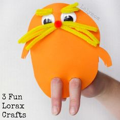 Three Dr. Seuss crafts inspired by his book The Lorax. The kids will love making the finger puppet, the pretend mustache, and the sticky Truffula trees.