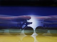 The British men's pursuit team in qualifying action at the Track Cycling World Cup at the National Cycling Centre, Manchester