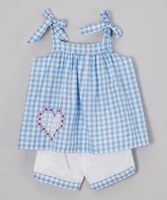 Another great find on #zulily! Blue & White Plaid Swing Top & Shorts - Infant & Toddler #zulilyfinds