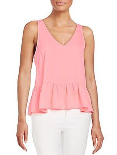 5/48 Sleeveless Peplum Top - Party Pink - Size
