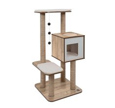 Cat Tree - Vesper Scratching Post with Condo - Oak Furniture