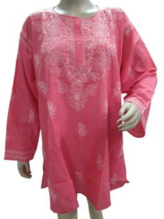 Amazon.com: Rose Pink Bohemian Yoga Tunic, Kurta Chikan Embroidered Paisley Kurti Top XXL: Clothing