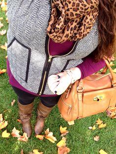 Herringbone vest style, boots, leopard