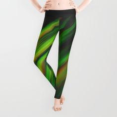 Colorful neon green brush strokes on dark gray leggings by #PLdesign #abstract #neon #green