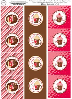 "SWEET HEART'S CAFE 2"" circle tags & treat bag toppers"