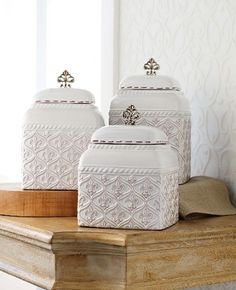 Mud Pie Fleur De Lis Canister Set for sale online Antique Kitchen Decor, Spice Containers, French Collection, Kitchen Canister Sets, Tuscan Style, Mud Pie, French Decor, Organizer, Country Kitchen