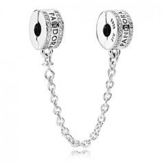 PANDORA Logo Safety Chain features the PANDORA logo in sterling silver with 80 bead-set clear cubic zirconia and silicone grip. Previously called PANDORA Insignia Safety Chain. Colar Pandora, Bracelet Pandora Charms, Pandora Jewelry, Pandora Pandora, Charm Bracelets, Leather Bracelets, Silver Jewelry, Pandora Beads, Gold Jewellery