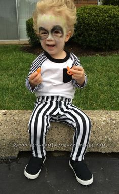 Cute DIY Beetlejuice Costume for a Toddler...