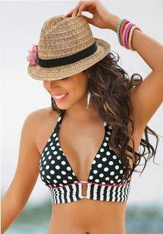 Black-White Polka Dot 2-in-1 Cute Swimwear - Vests - Tops