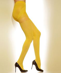 Take a look at this Goldenrod Opaque Shaper Tights - Women & Plus on zulily today!