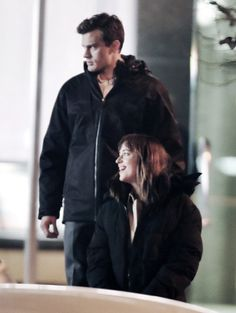 Jamie Dornan and Dakota Johnson on set of Fifty Shades of Grey in Vancouver - 8 Dec 2013Click on for more FSOG Set photos via: the50shadesworld.comlovefiftyshades.com | twitter | instagram | pinterest | youtube