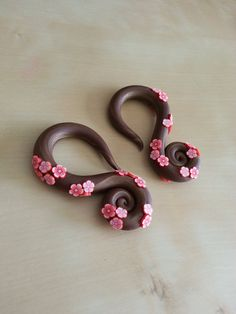Cherry Blossom Curl Gauged Earrings by EllesBelleBoutique on Etsy, $36.00
