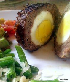 Spiced Scotch egg (Fried in skillet with no breading. Not very traditional, but blood sugar friendly and pretty easy!)
