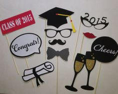 Graduation Party Class of 2015 Photobooth Prop Set of 12