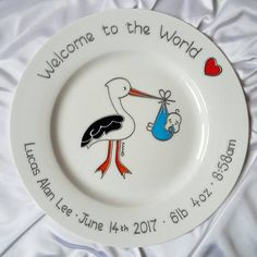 Baby boy announcement mouse gift custom baby plate personalised baby plate for boy stork baby keepsake christening gift for baby handmade baby gift blue stork design christening plate for baby negle Gallery