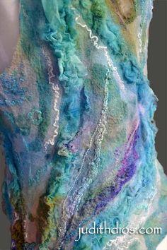 Amethyst Roses on Royal Blue & Turquoise Nuno Felt Scarf, Felted Scarf, Textile Design, Textile Art, Nuno Felting, Needle Felting, Felted Wool Crafts, Fibre And Fabric, Small Scarf