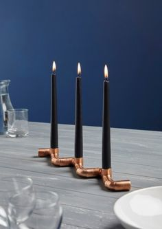 Copper Piping Zig Zag Candle Holder