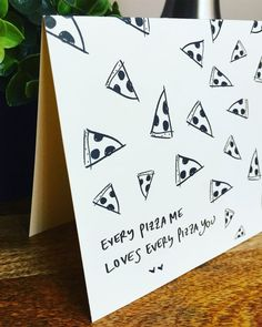 Pizza Love Card - Pizza pun card, pizza my heart, pizza greeting card, anniversary card, romantic card, valentines day card, funny pun card by SideSandwich on Etsy
