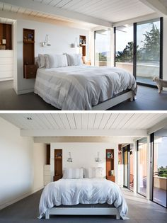 This San Francisco Eichler Home Got Itself A Contemporary Remodel Two smaller bedrooms were opened up and turned into a spacious master suite. There's an open closet / dressing area tucked away behind the bed. Wardrobe Behind Bed, Bed In Closet, Master Bedroom Closet, Bedroom Wardrobe, Bedroom Bed, Master Suite, Closet Small, Ikea Closet, Small Wardrobe
