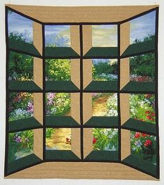 """Pathway through my garden"" by Ellen B, Michigan, USA.  This tweaked attic window quilt has the appearance of a bay window."
