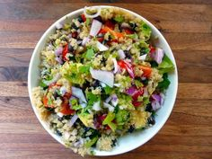 Quinoa Salad with Black Beans, Avocado and Cumin-Lime Dressing serves 4-6.