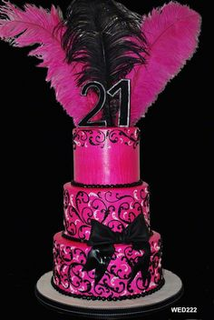 WED222 Pink and black tiered cake with scroll and feathers www.3brothersbakery.com
