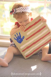 A simple Flag Handprint Craft for Little Ones. #creative #DIY #keepsake #toddler #preschool #kindergarten #kids #4thofJuly