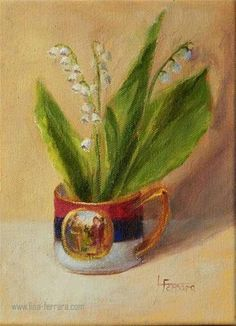 """Daily Paintworks - """"Cup of Lilies"""" - Original Fine Art for Sale - © Lina Ferrara"""