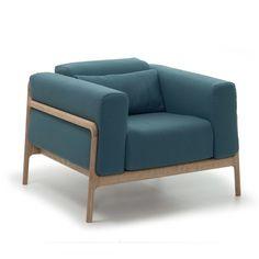 Oak framed teal armchair. Fawn at Heal's