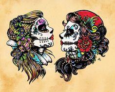 Tag der Toten Tattoo Flash Art Schönheiten 8 x 10 oder 11 x 14