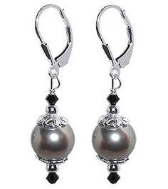 SCER034 Sterling Silver Radiant Imitation Pearl and Crystal Earrings Made with Swarovski Elements