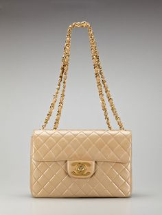 Vintage Dark Beige Quilted Lambskin Leather Jumbo Flap Bag by Chanel http://www.gilt.com/invite/mylink1218476 $3450