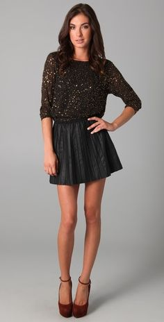 Alice + Olivia Opal Sequin Cropped @Tabitha Keesey This would be cute with your leather skirt!