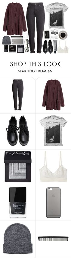 """Rainy autumn/fall outfit"" by blackcherrypie1 ❤ liked on Polyvore featuring H&M, NARS Cosmetics, CASSETTE, Base Range, Butter London, Native Union, Pieces, T3 and Bunn"