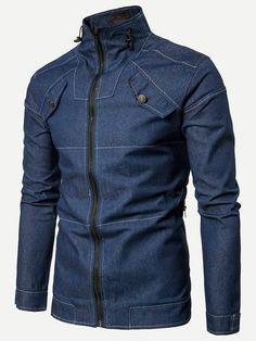 Denim Men's Jacket Coat Stand collar Solid color Jeans Jacket For Mens clothing Casual Windbreaker Black Blue Denim Jacket Men Style, Denim Men, Men's Jacket, Jean Moda, Denim Cardigans, Men's Coats And Jackets, Denim Jackets, Blue Denim Shirt, Mens Clothing Styles