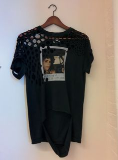 Drape 3 - Deconstructed PJ Harvey tshirt; circles removed. Starting to achieve the look of a flesh-eating virus.